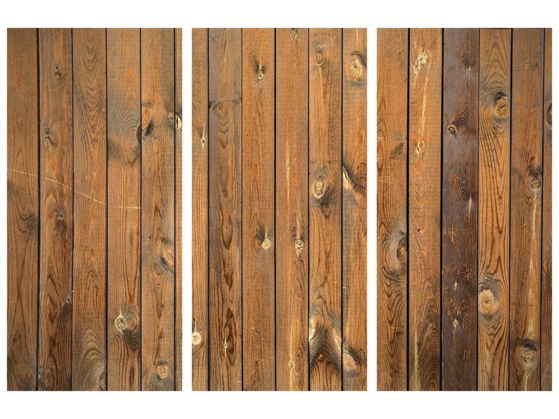 Metallic-Bild 3-teilig Bretterwand