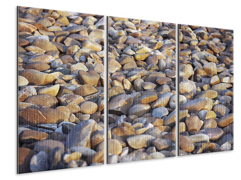 Metallic-Bild 3-teilig Strandsteine