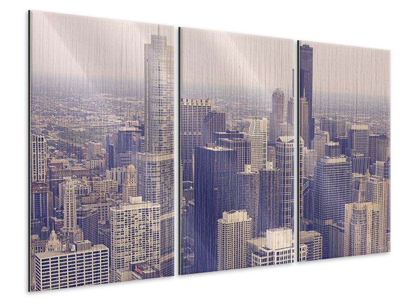Metallic-Bild 3-teilig Skyline Chicago in Sepia