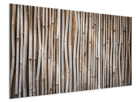 Metallic-Bild 3-teilig Getrocknete Bambusrohre