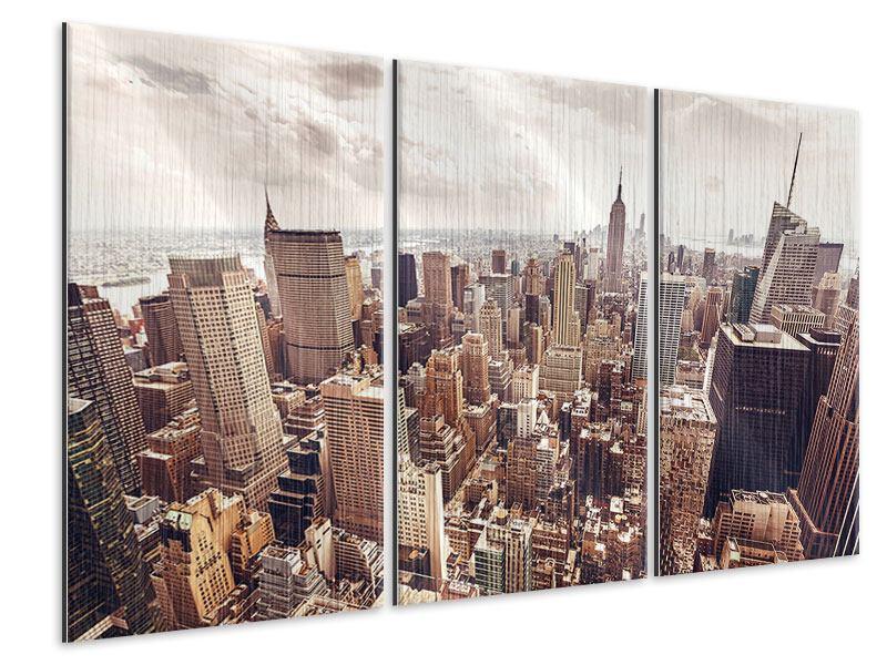 Metallic-Bild 3-teilig Skyline Über den Dächern Manhattans