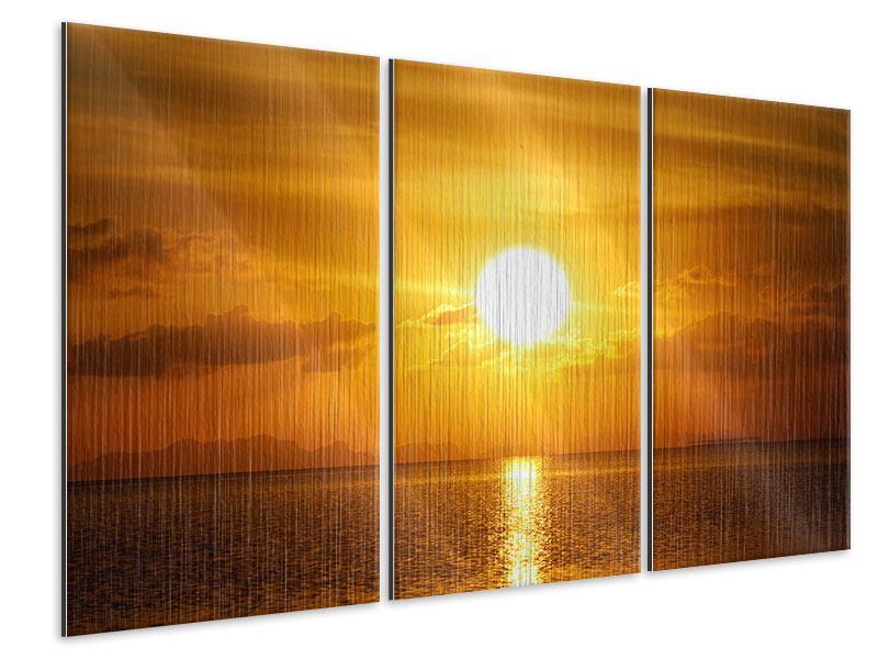 Metallic-Bild 3-teilig Sonnenuntergang See