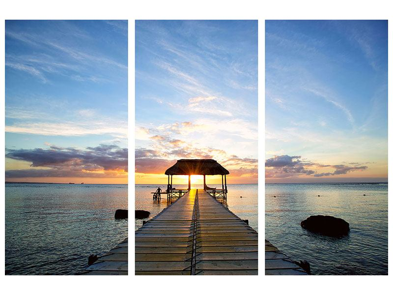 Metallic-Bild 3-teilig Romantik auf Mauritius