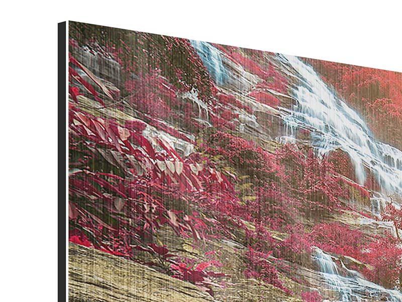 Metallic-Bild 3-teilig Exotischer Wasserfall
