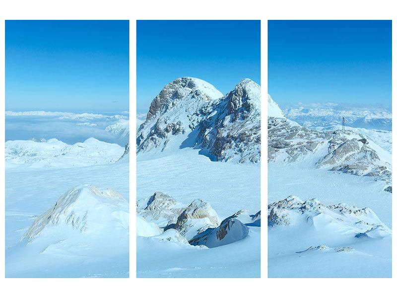 Metallic-Bild 3-teilig Über den Wolken