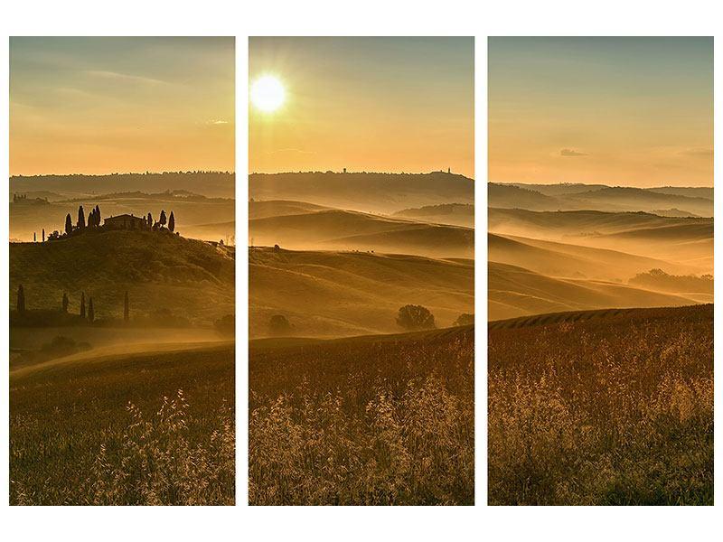 Metallic-Bild 3-teilig Sonnenuntergang im Gebirge