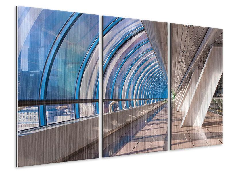 Metallic-Bild 3-teilig Hypermoderne Brücke
