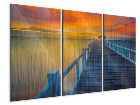 Metallic-Bild 3-teilig Eine Holzbrücke im fernen Osten