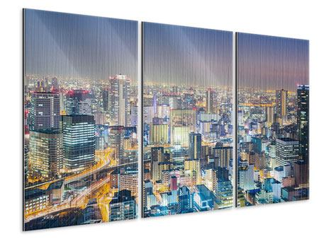 Metallic-Bild 3-teilig Skyline Osaka bei Sonnenuntergang