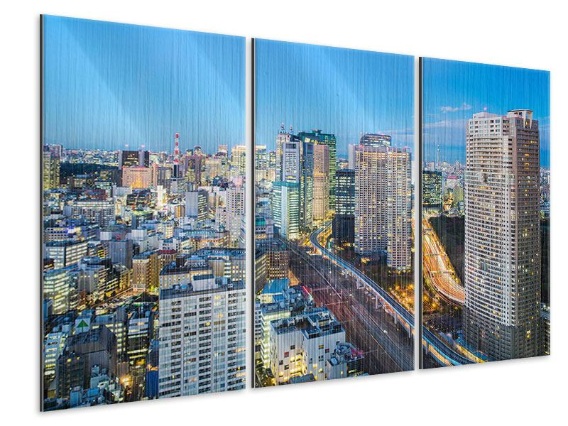Metallic-Bild 3-teilig Skyline Tokio im Lichtermeer