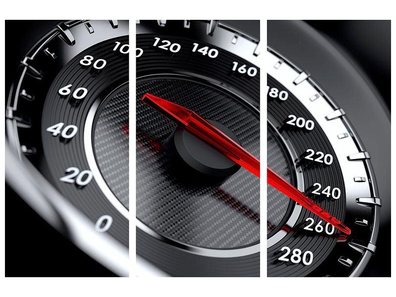 Metallic-Bild 3-teilig Geschwindigkeit