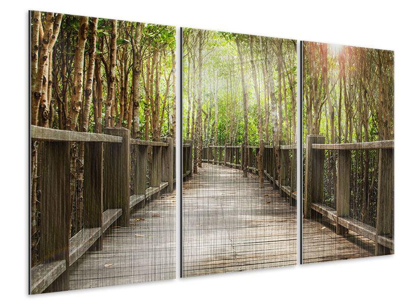 Metallic-Bild 3-teilig Hölzerne Brücke