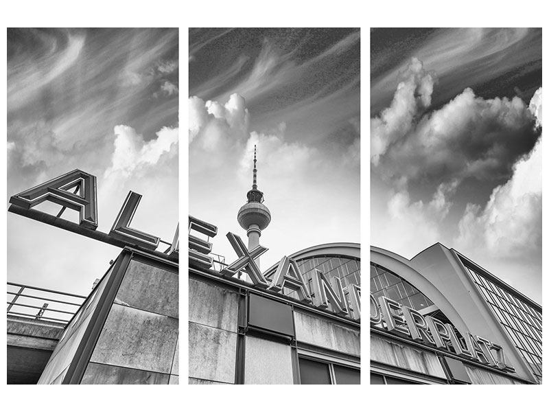 Metallic-Bild 3-teilig Alexanderplatz