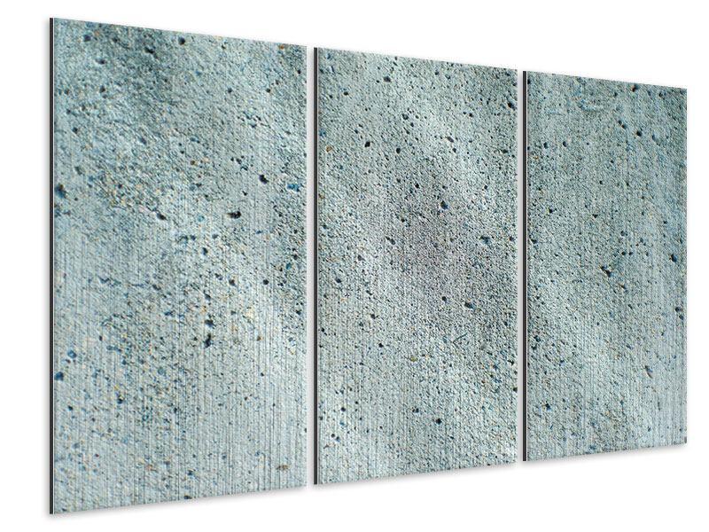 Metallic-Bild 3-teilig Beton in Grau