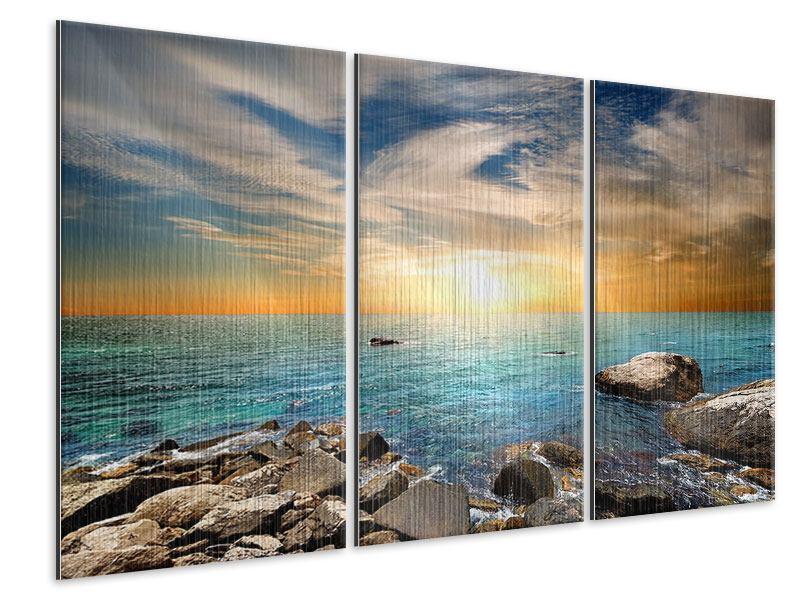 Metallic-Bild 3-teilig Meerwasser