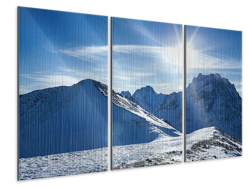 Metallic-Bild 3-teilig Der Berg im Schnee