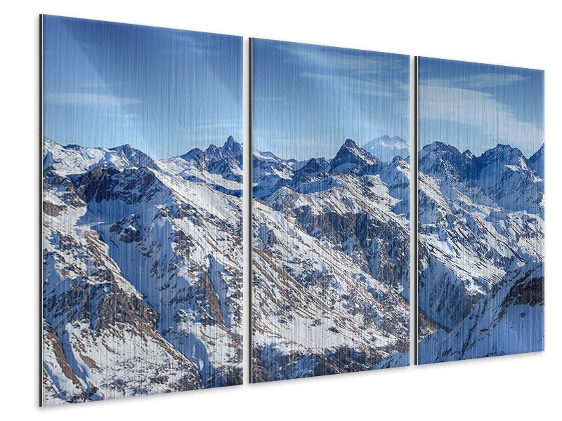 Metallic-Bild 3-teilig Gipfelspitzen