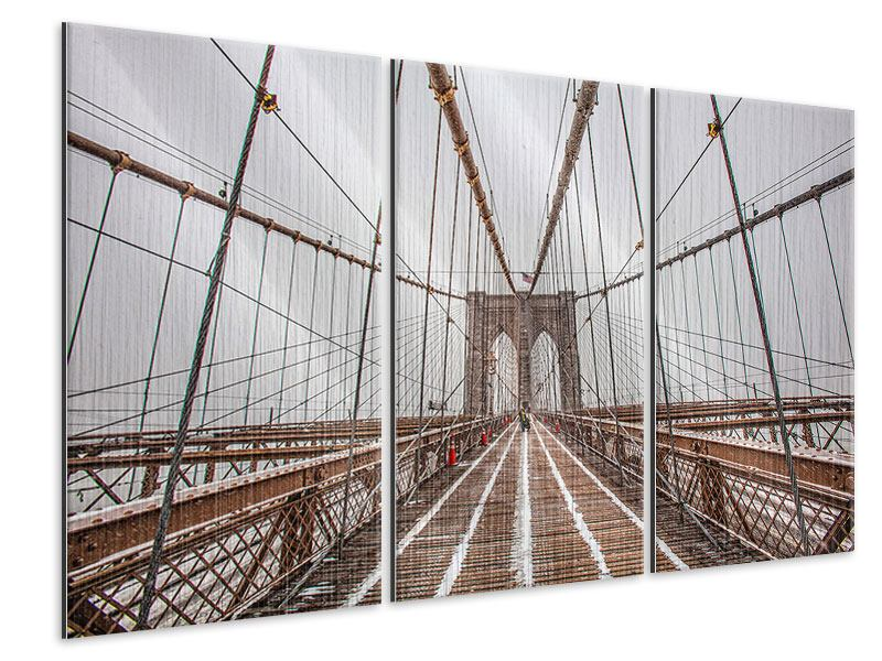 Metallic-Bild 3-teilig Auf der Brooklyn Bridge