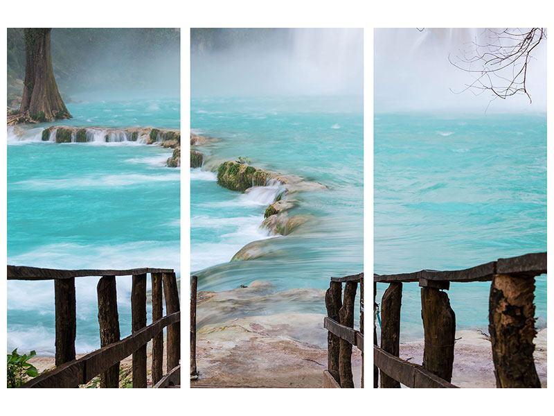 Metallic-Bild 3-teilig Haus am Wasserfall