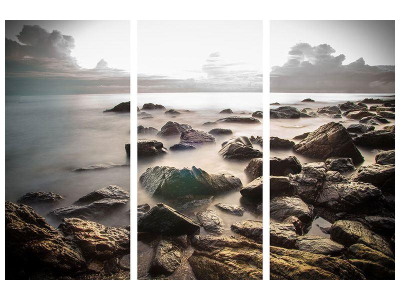 Metallic-Bild 3-teilig Steine am Strand