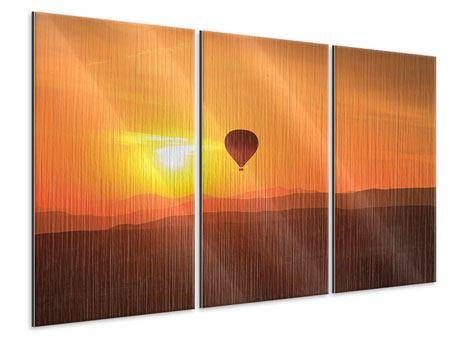 Metallic-Bild 3-teilig Heissluftballon bei Sonnenuntergang