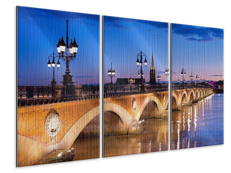 Metallic-Bild 3-teilig Pont De Pierre bei Sonnenuntergang