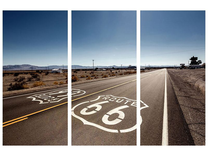 Metallic-Bild 3-teilig Route 66