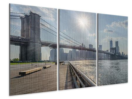 Metallic-Bild 3-teilig Brooklyn Bridge