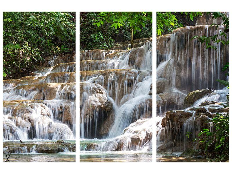 Metallic-Bild 3-teilig Mexikanischer Wasserfall