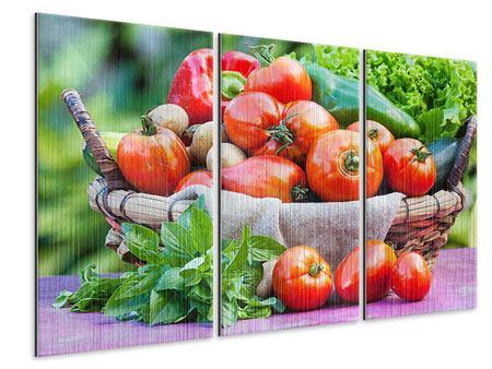 Metallic-Bild 3-teilig Gemüsekorb