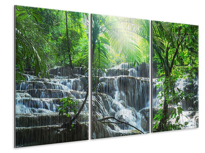 Metallic-Bild 3-teilig Wasserfall Agua Azul