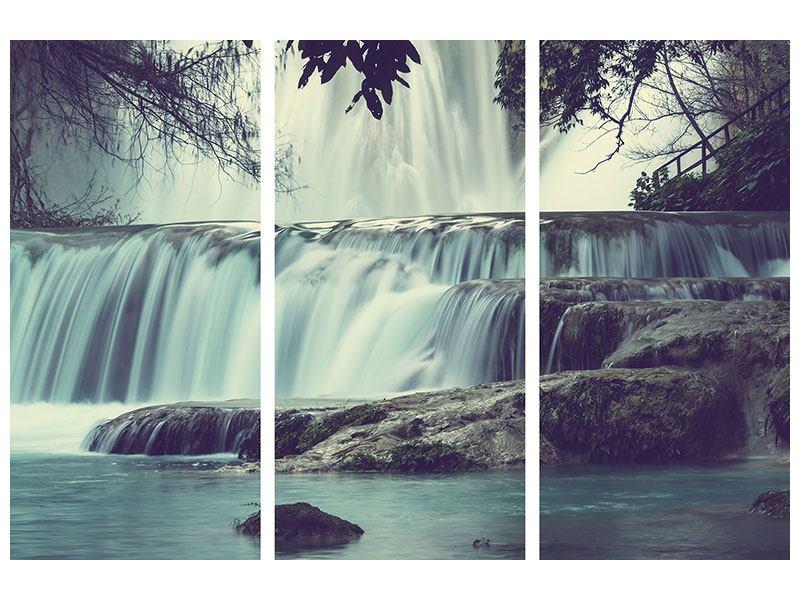 Metallic-Bild 3-teilig Wasserfall Mexiko