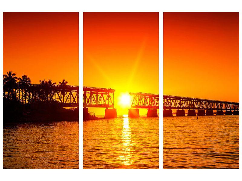 Metallic-Bild 3-teilig Sonnenuntergang an der Brücke