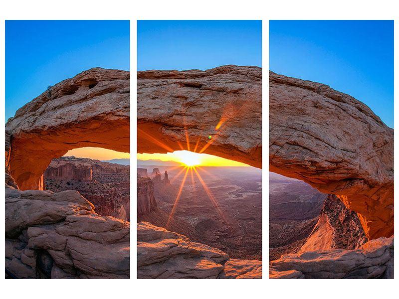 Metallic-Bild 3-teilig Sonnenuntergang am Mesa Arch