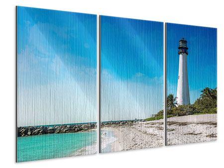 Metallic-Bild 3-teilig Cape Florida Ligthhouse
