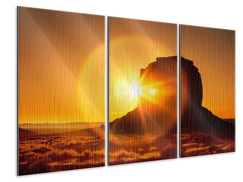 Metallic-Bild 3-teilig Sonnenuntergang Monument Valley