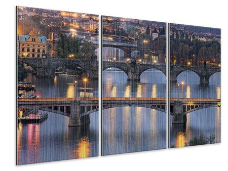 Metallic-Bild 3-teilig Brücken in Prag