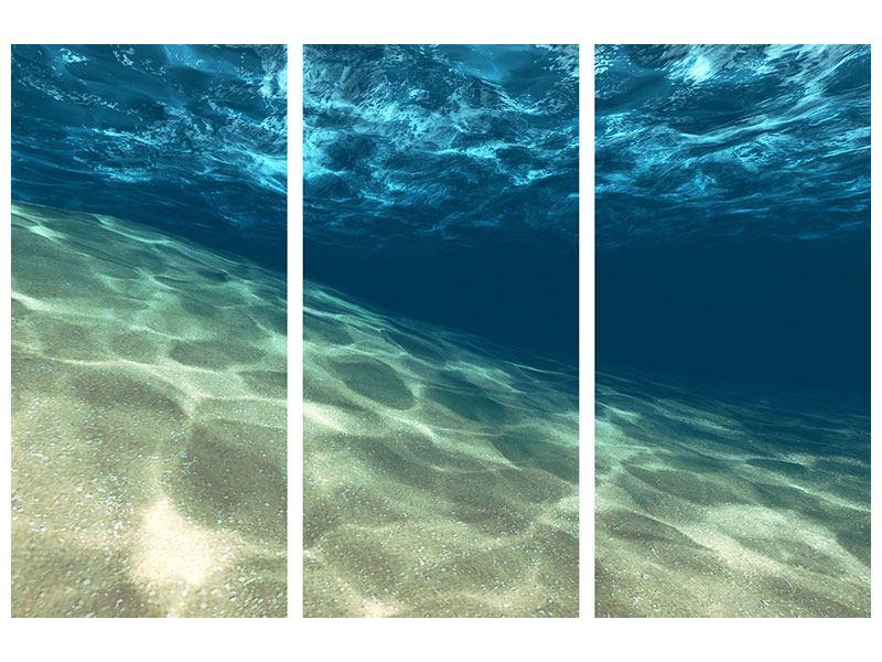 Metallic-Bild 3-teilig Unter dem Wasser