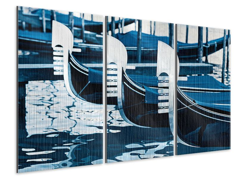 Metallic-Bild 3-teilig Gondeln in Venedig
