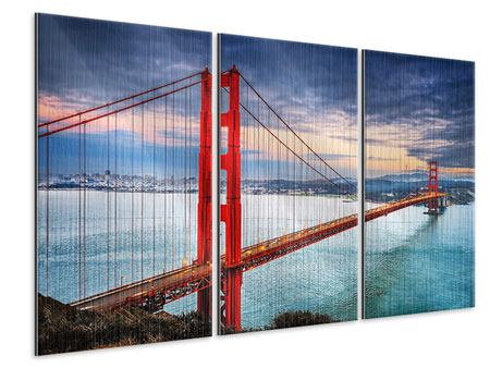 Metallic-Bild 3-teilig Der Golden Gate Bridge bei Sonnenuntergang