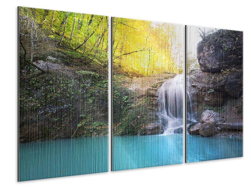 Metallic-Bild 3-teilig Fliessender Wasserfall