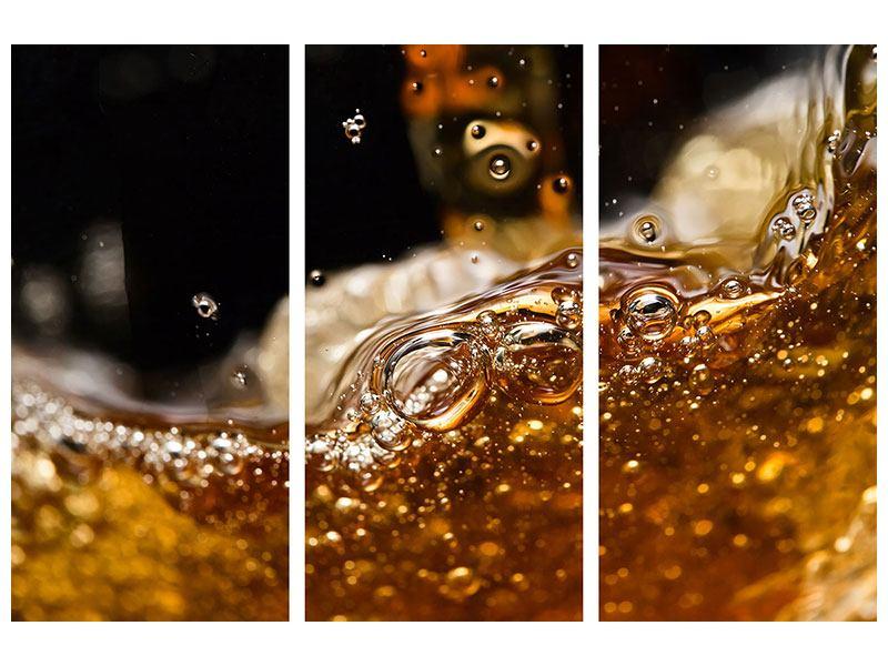 Metallic-Bild 3-teilig Cognac