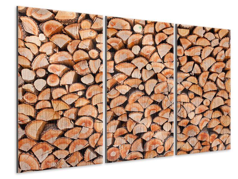 Metallic-Bild 3-teilig Birkenstapel