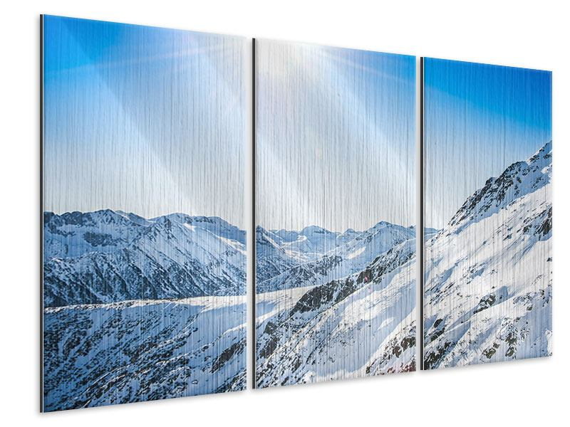Metallic-Bild 3-teilig Bergpanorama im Schnee