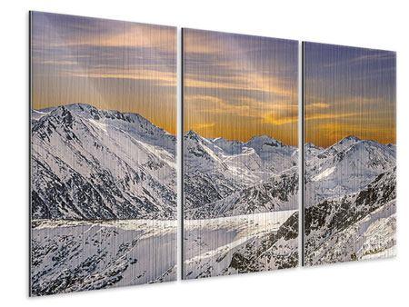 Metallic-Bild 3-teilig Sonnenuntergang in den Bergen