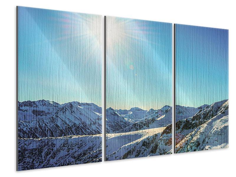 Metallic-Bild 3-teilig Sonnige Berggipfel im Schnee