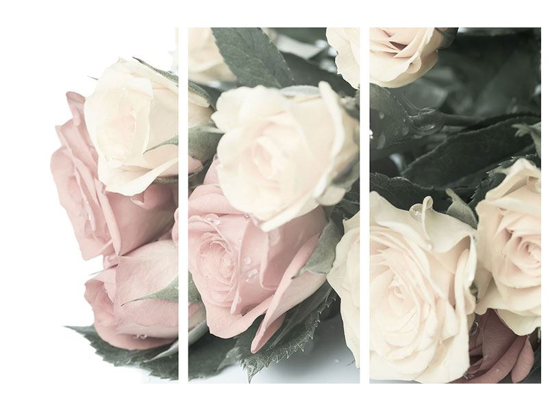 Metallic-Bild 3-teilig Rosenromantik