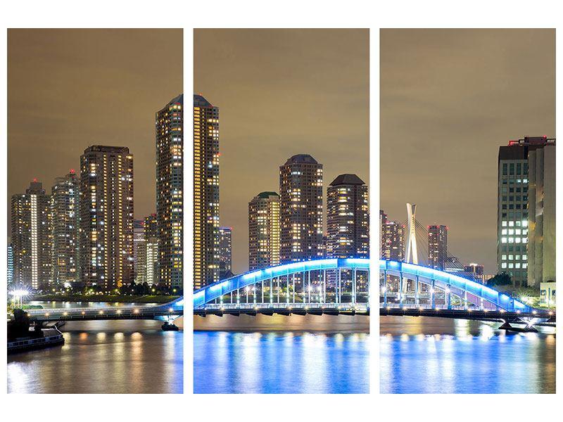 Metallic-Bild 3-teilig Skyline Tokio in der Nacht