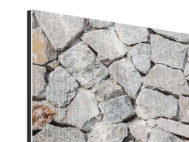 Metallic-Bild 3-teilig Grunge-Stil Mauer