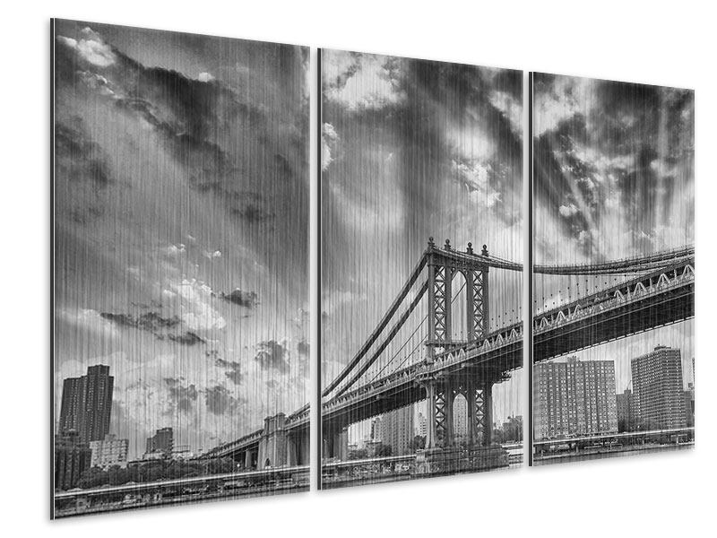 Metallic-Bild 3-teilig Manhattan Bridge